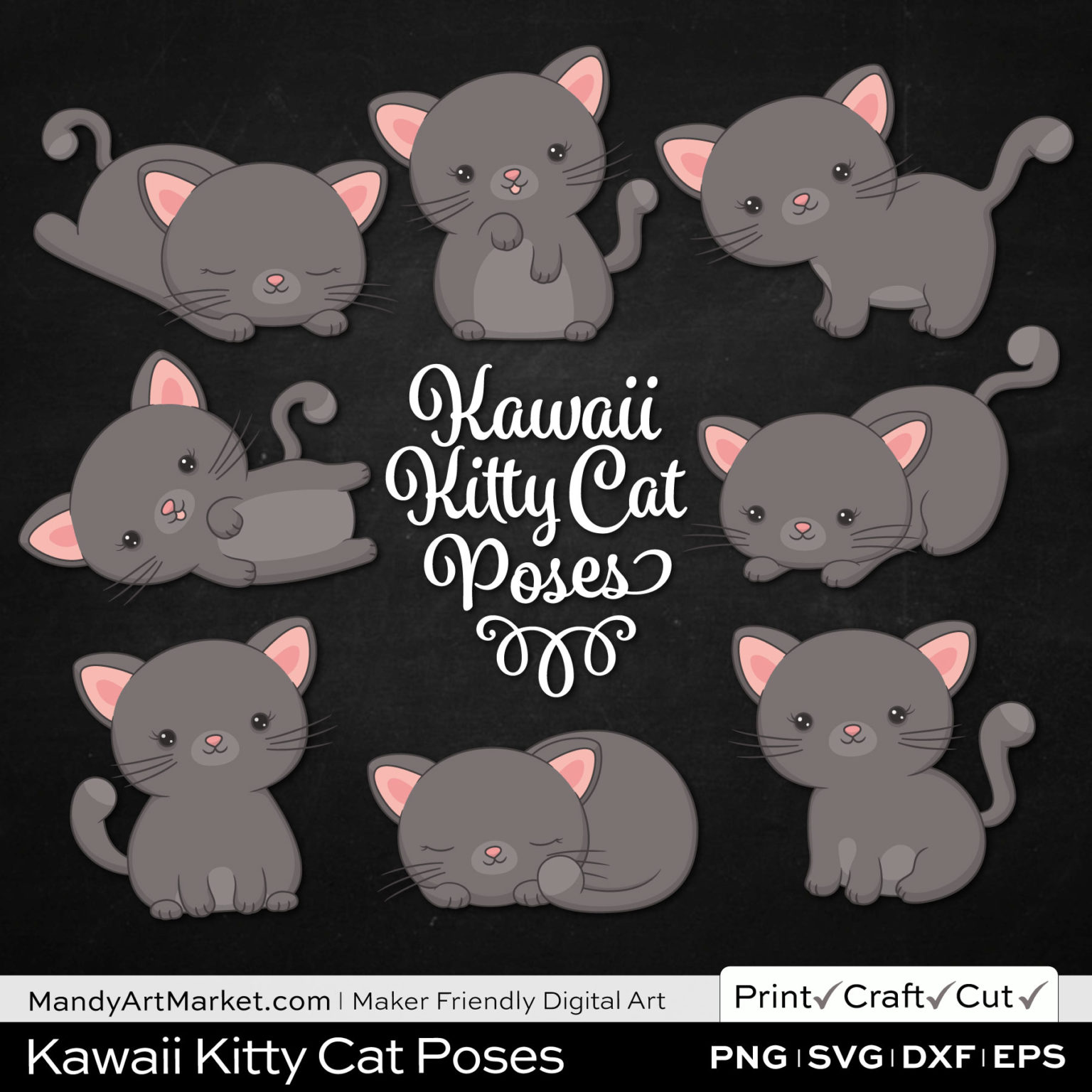 Pewter Gray Kawaii Kitty Cat Poses Clipart on Black Background