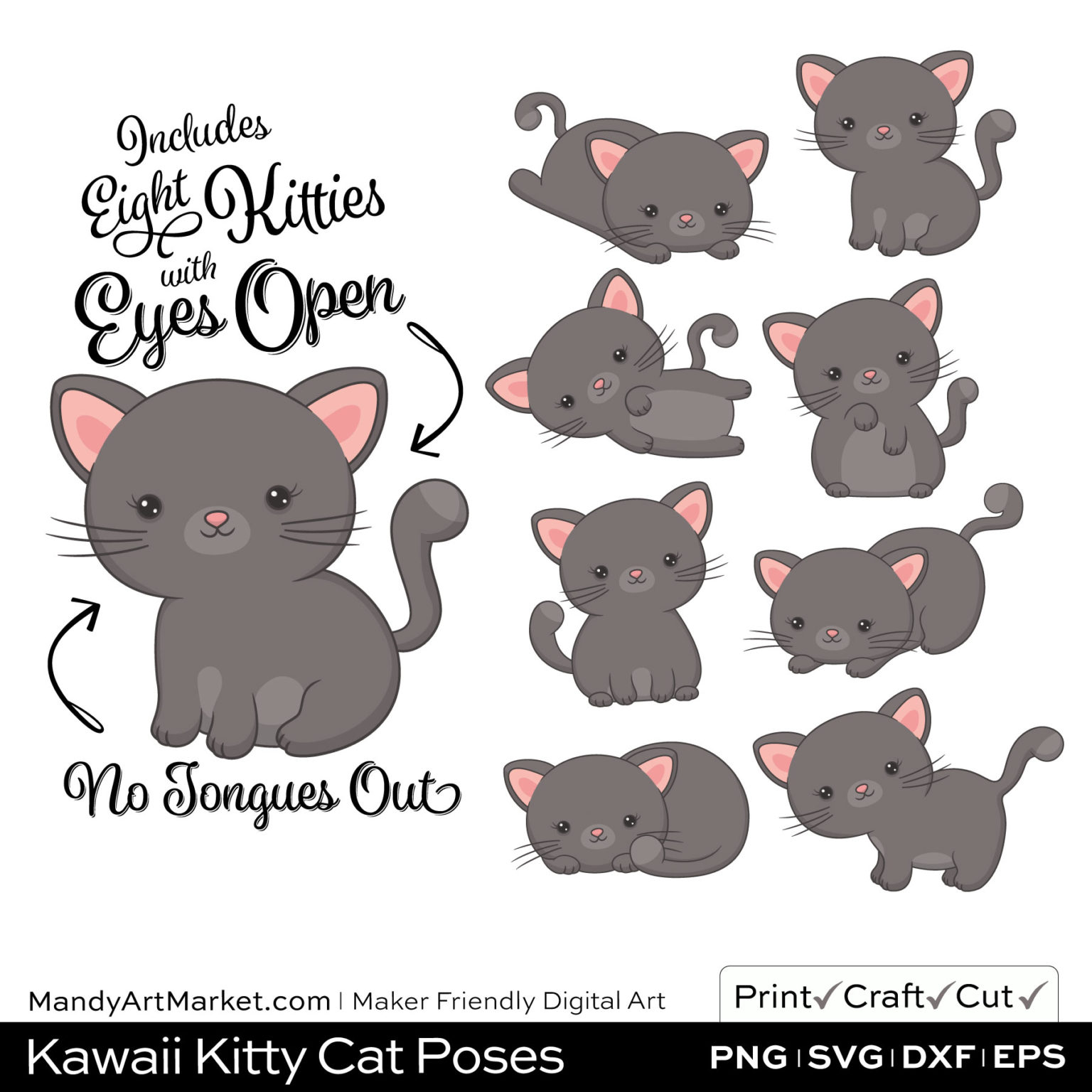 Pewter Gray Kawaii Kitty Cat Poses Clipart on Wood Background