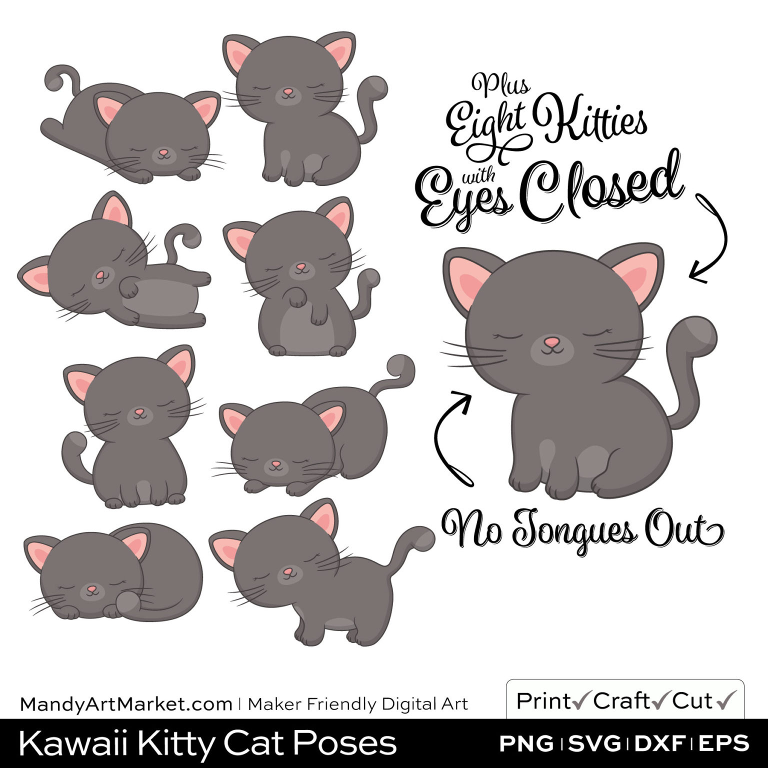 Pewter Gray Kawaii Kitty Cat Poses Clipart PNGs Included in Download