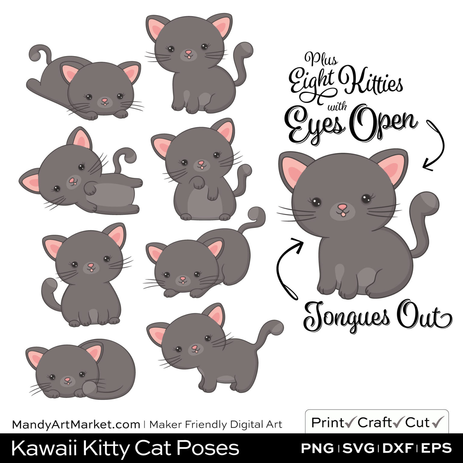 Pewter Gray Kawaii Kitty Cat Poses Clipart Examples