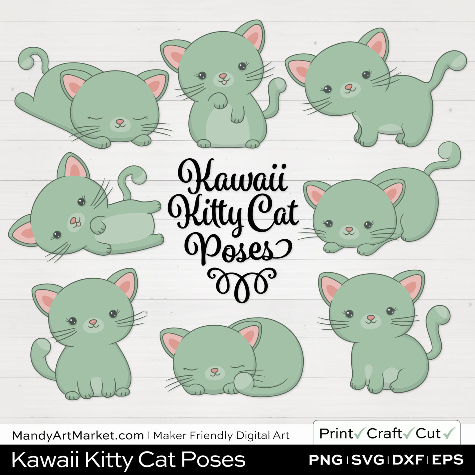 Sage Green Kawaii Kitty Cat Poses Clipart on White Background