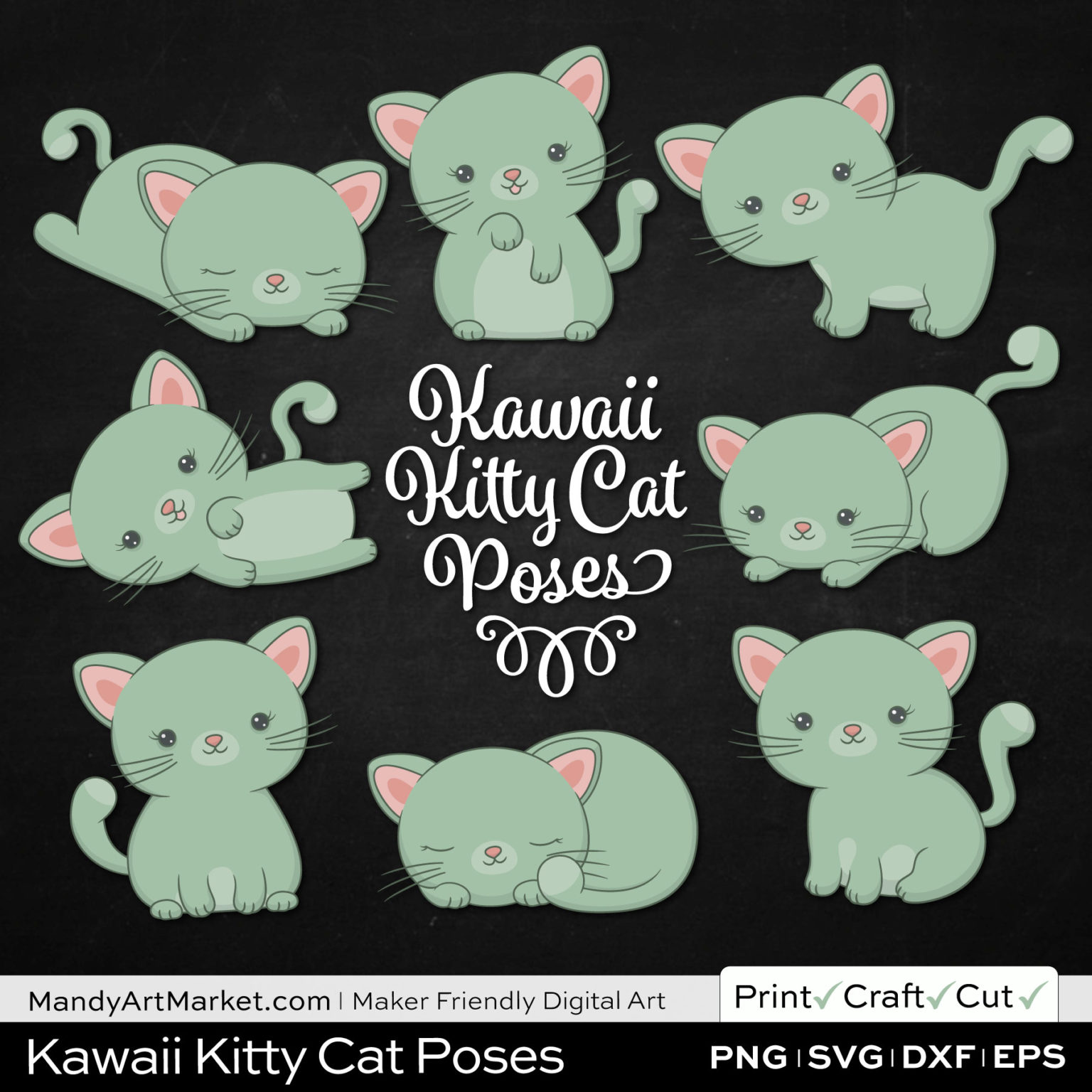 Sage Green Kawaii Kitty Cat Poses Clipart on Black Background