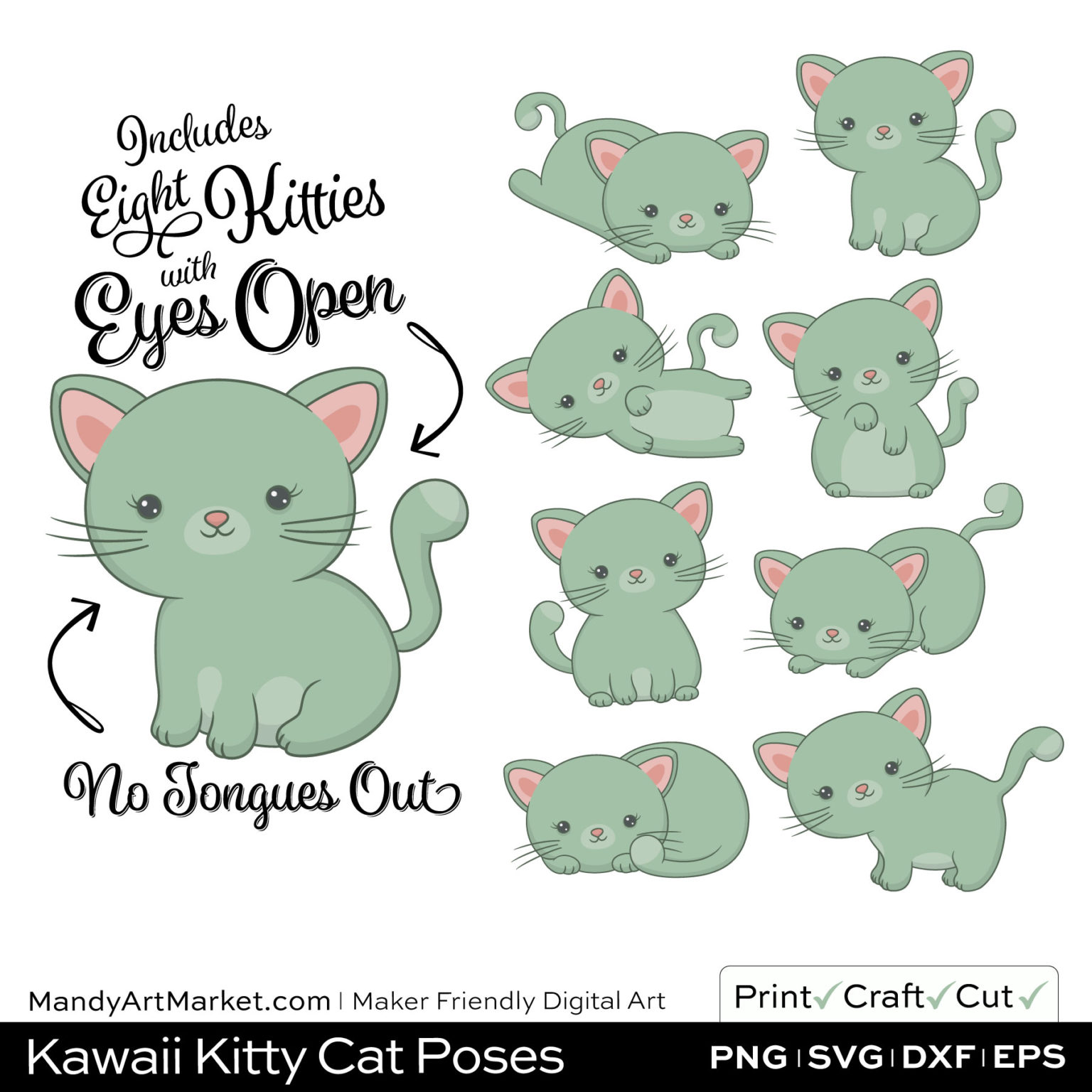 Sage Green Kawaii Kitty Cat Poses Clipart on Wood Background