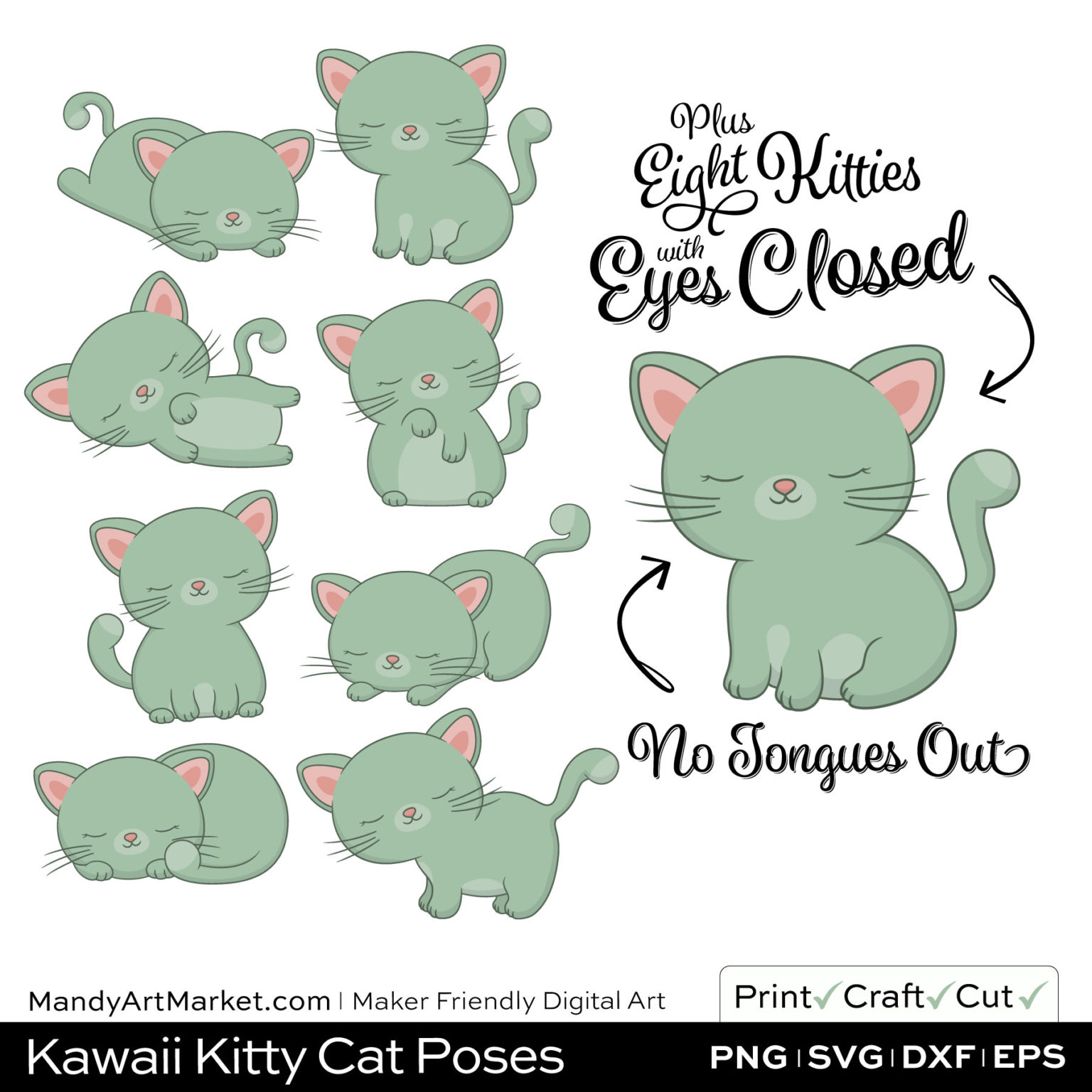 Sage Green Kawaii Kitty Cat Poses Clipart PNGs Included in Download