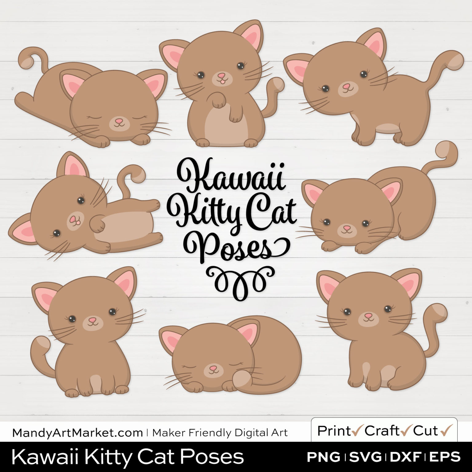 Sand Brown Kawaii Kitty Cat Poses Clipart on White Background
