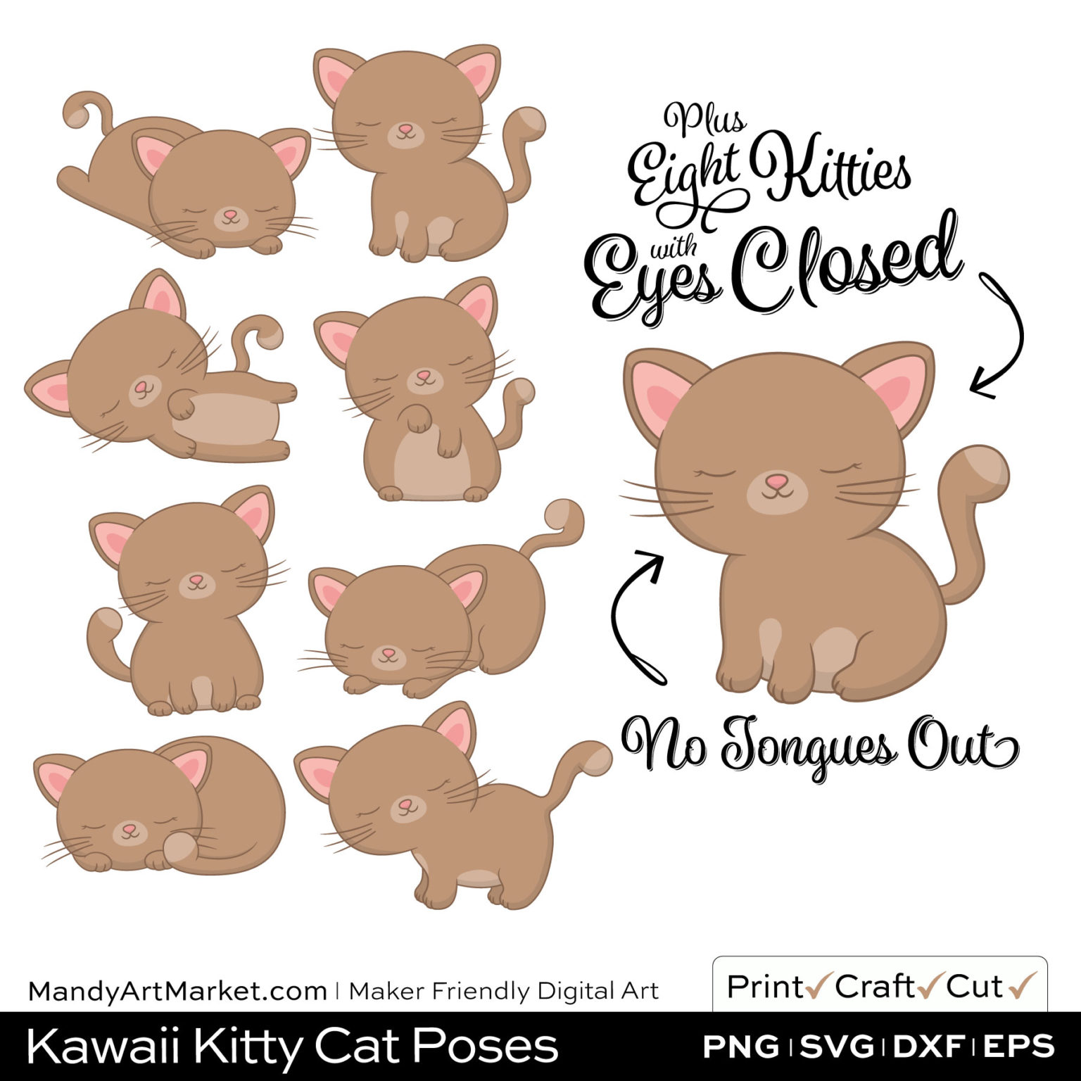 Sand Brown Kawaii Kitty Cat Poses Clipart PNGs Included in Download