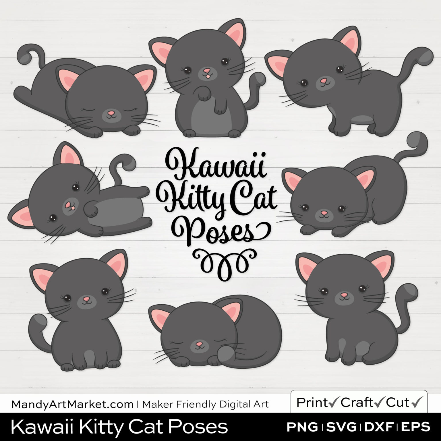 Shadow Gray Kawaii Kitty Cat Poses Clipart on White Background