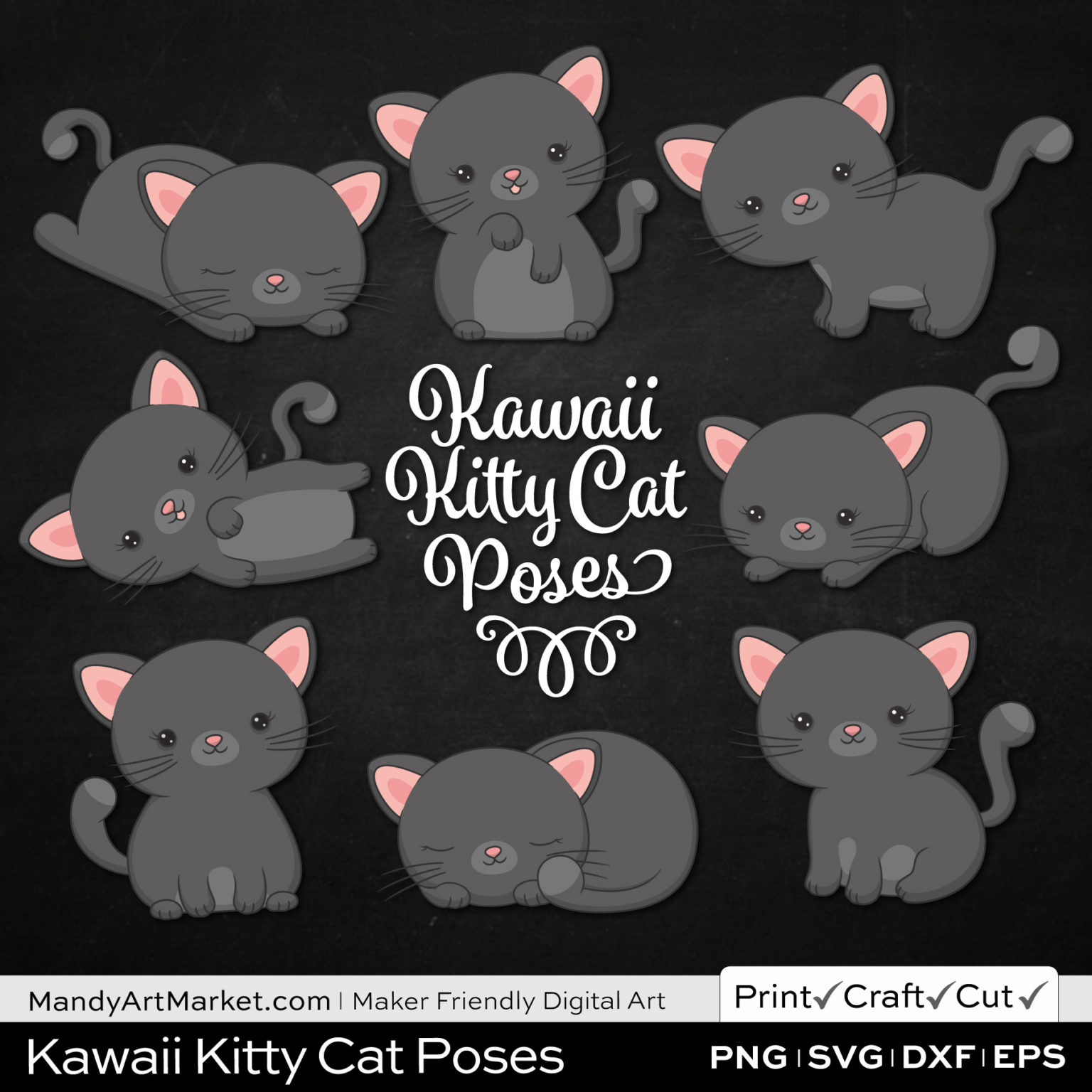 Shadow Gray Kawaii Kitty Cat Poses Clipart on Black Background