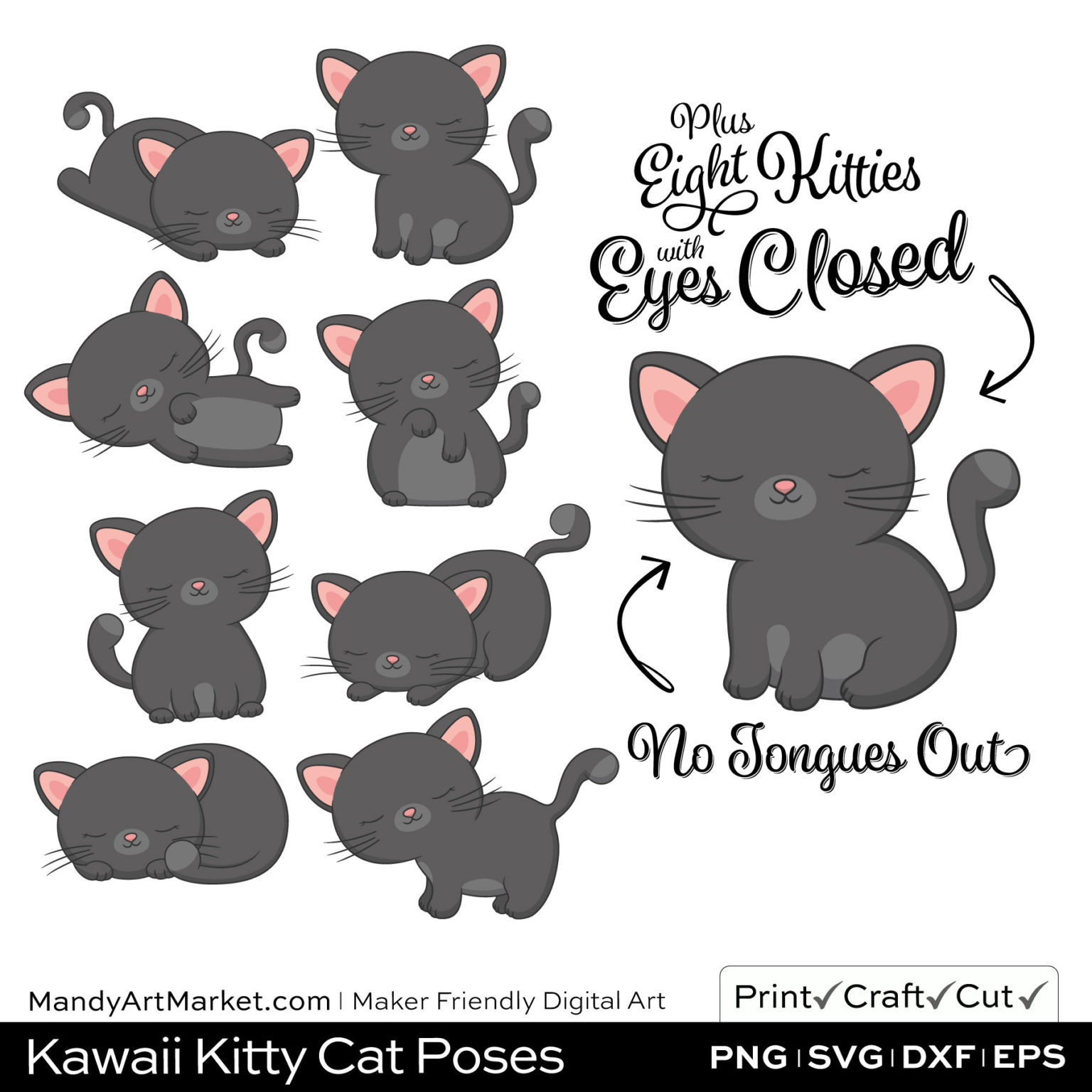 Shadow Gray Kawaii Kitty Cat Poses Clipart PNGs Included in Download