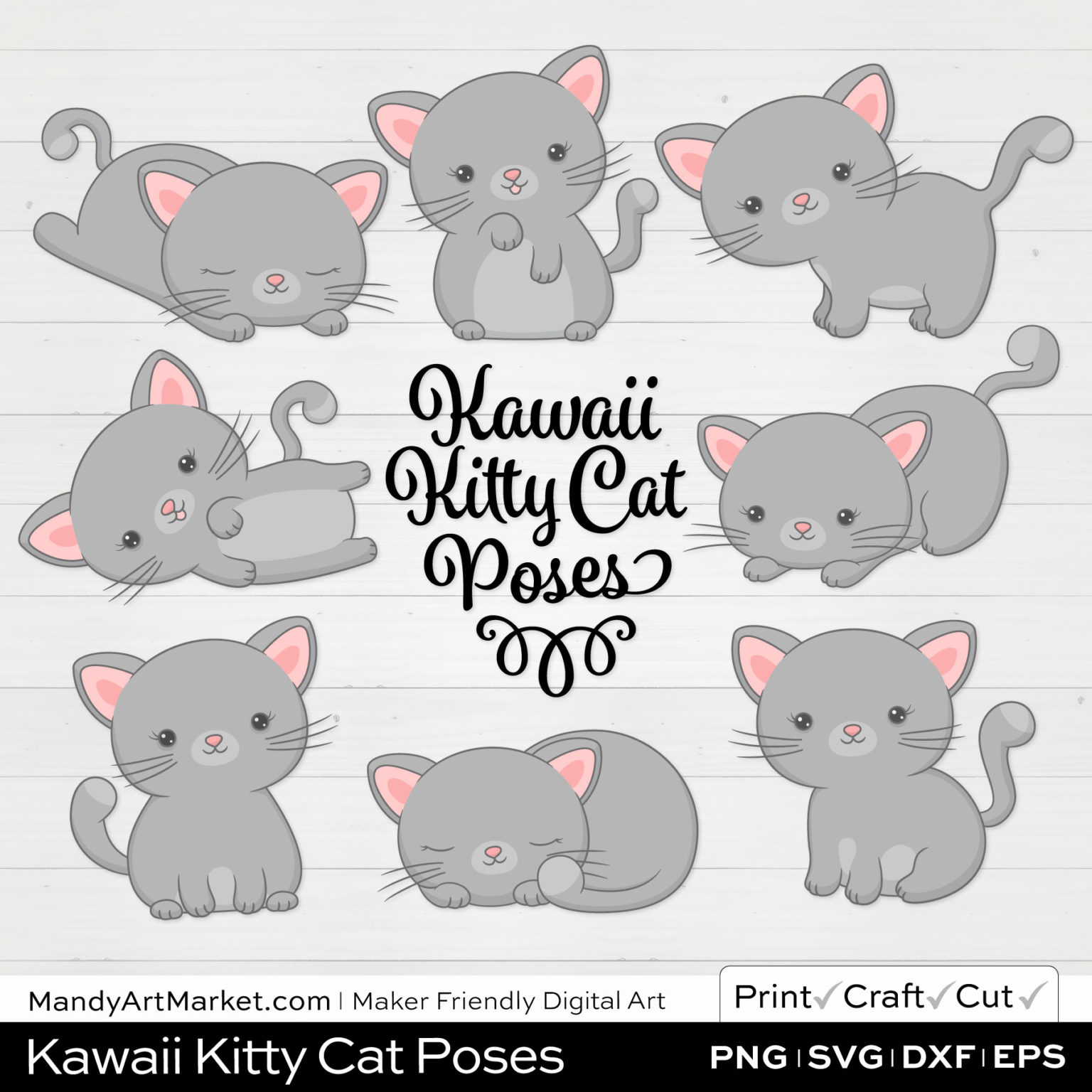 Silver Gray Kawaii Kitty Cat Poses Clipart on White Background
