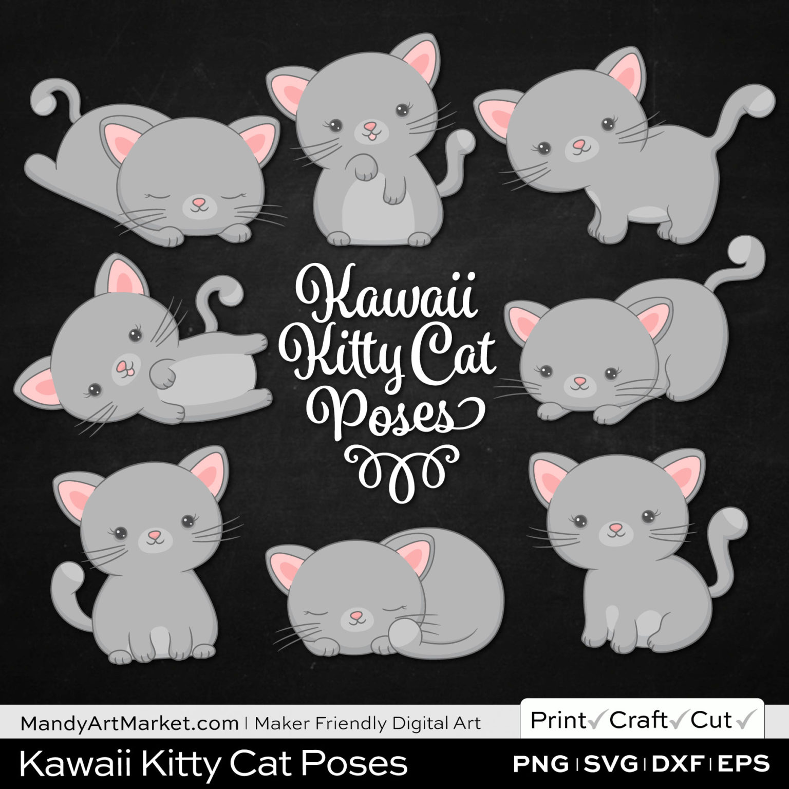 Silver Gray Kawaii Kitty Cat Poses Clipart on Black Background