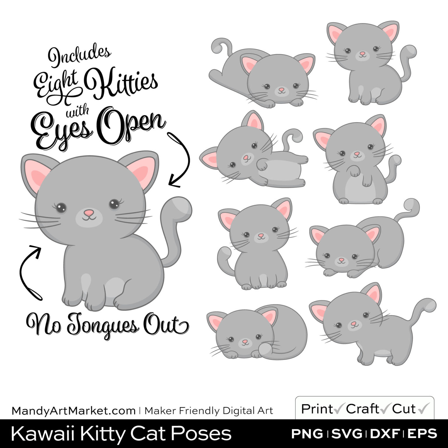 Silver Gray Kawaii Kitty Cat Poses Clipart on Wood Background
