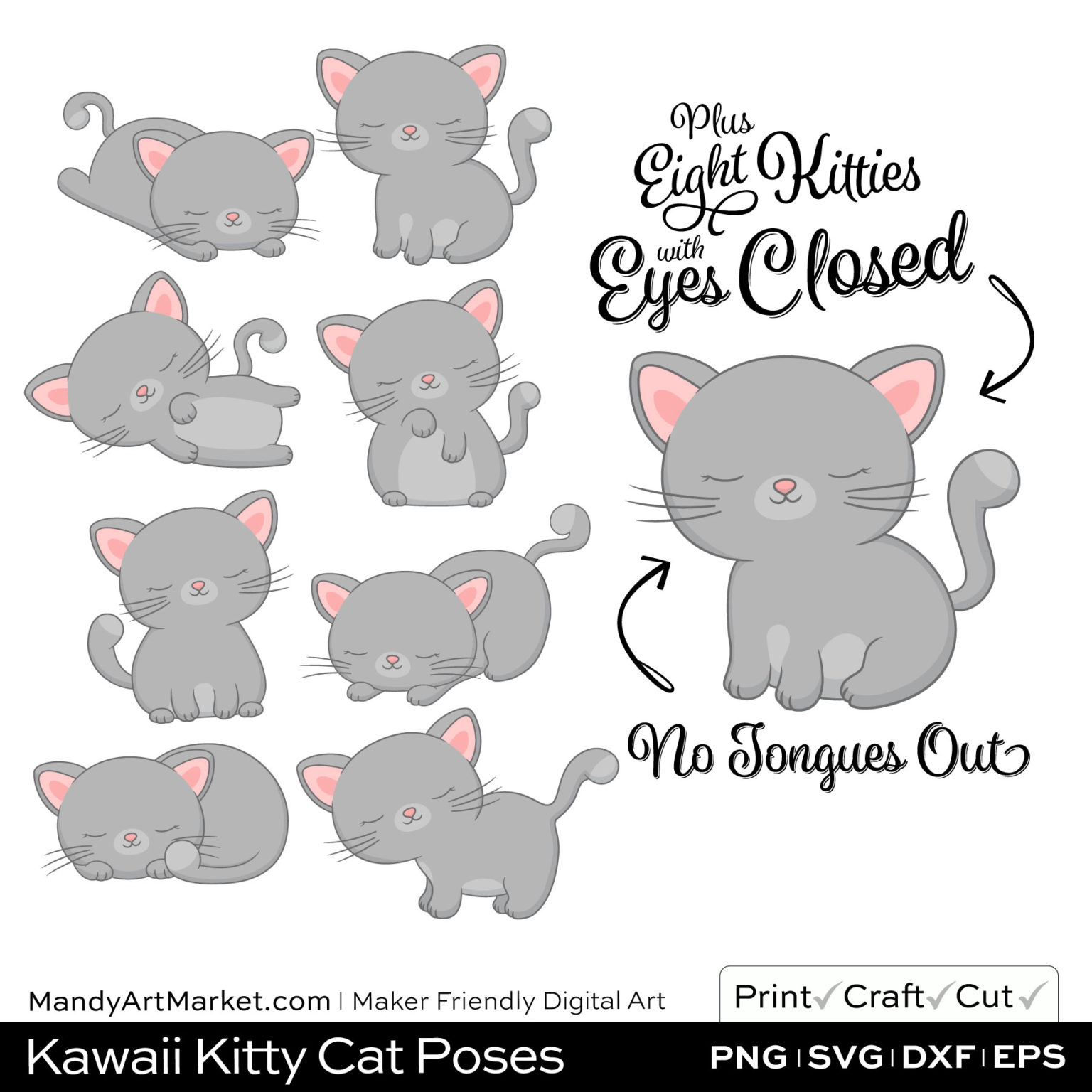 Silver Gray Kawaii Kitty Cat Poses Clipart PNGs Included in Download