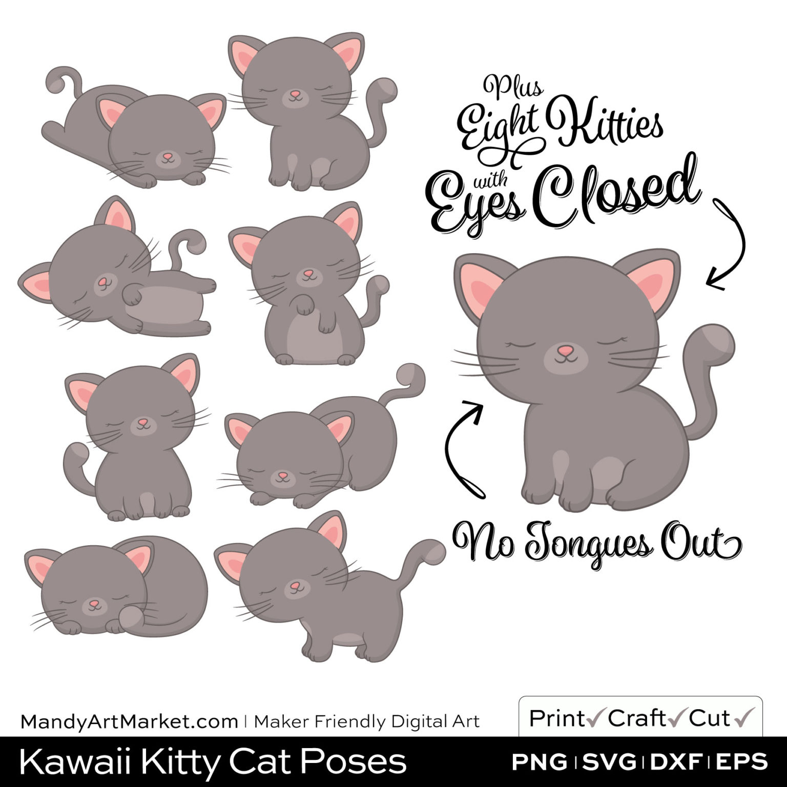 Smoke Gray Kawaii Kitty Cat Poses Clipart PNGs Included in Download