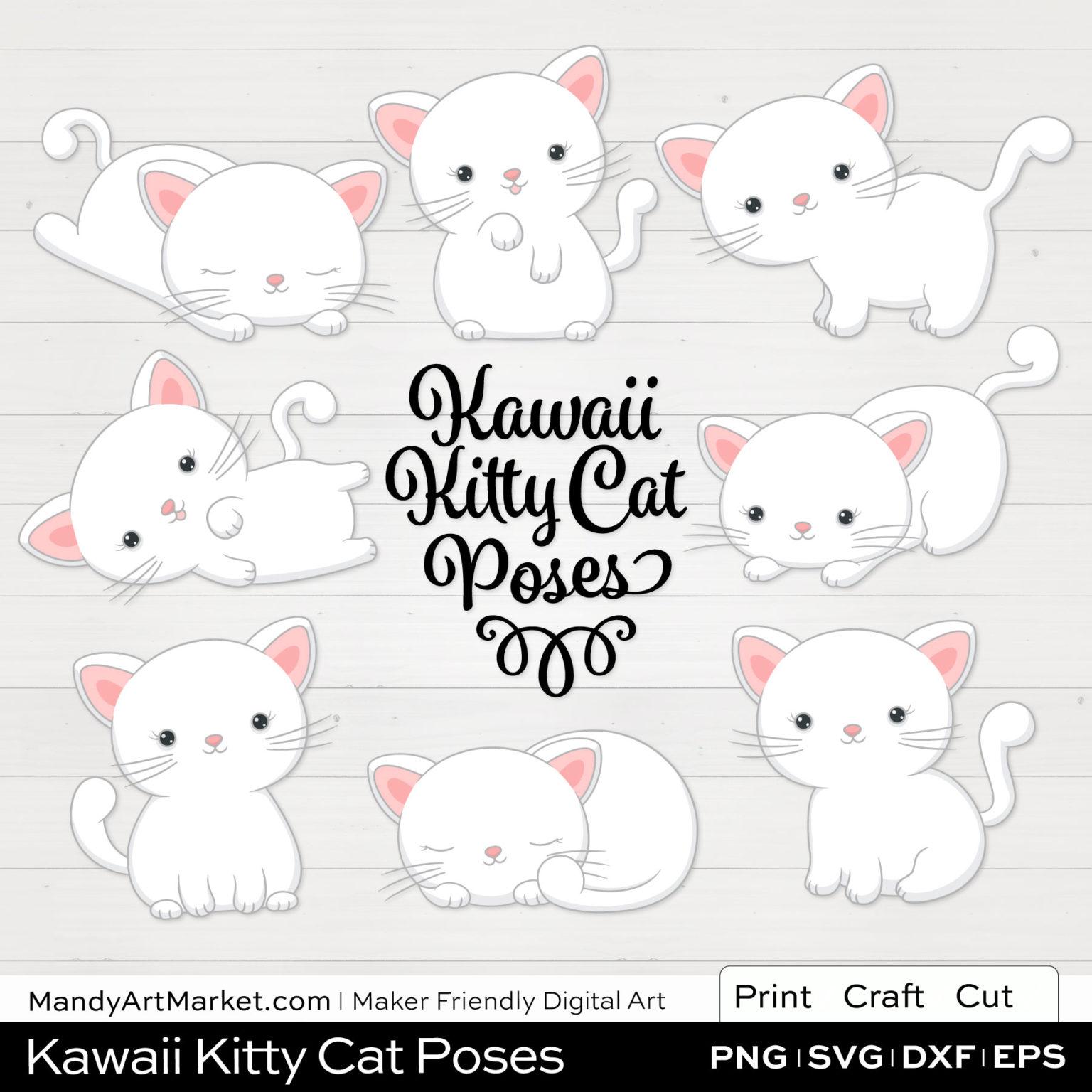 Snow White Kawaii Kitty Cat Poses Clipart on White Background