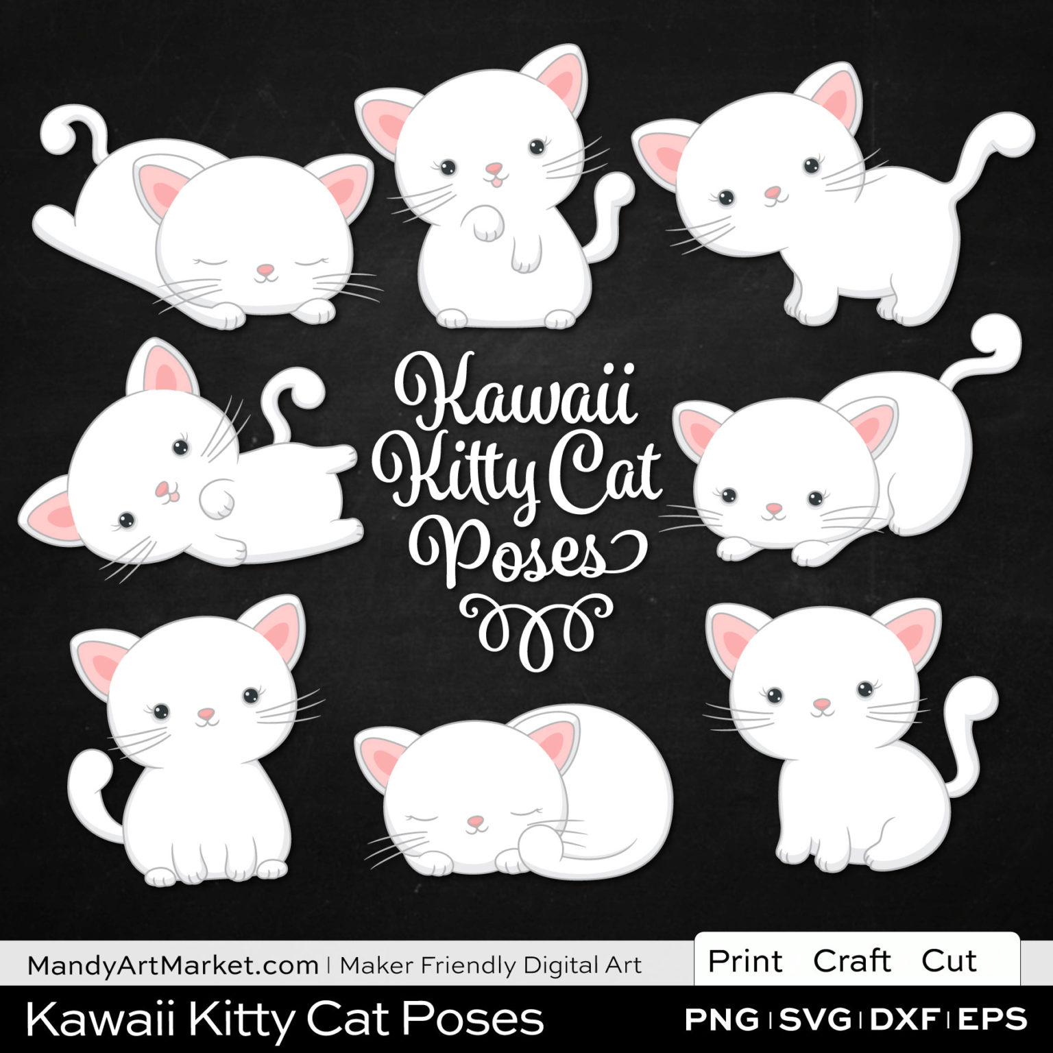 Snow White Kawaii Kitty Cat Poses Clipart on Black Background