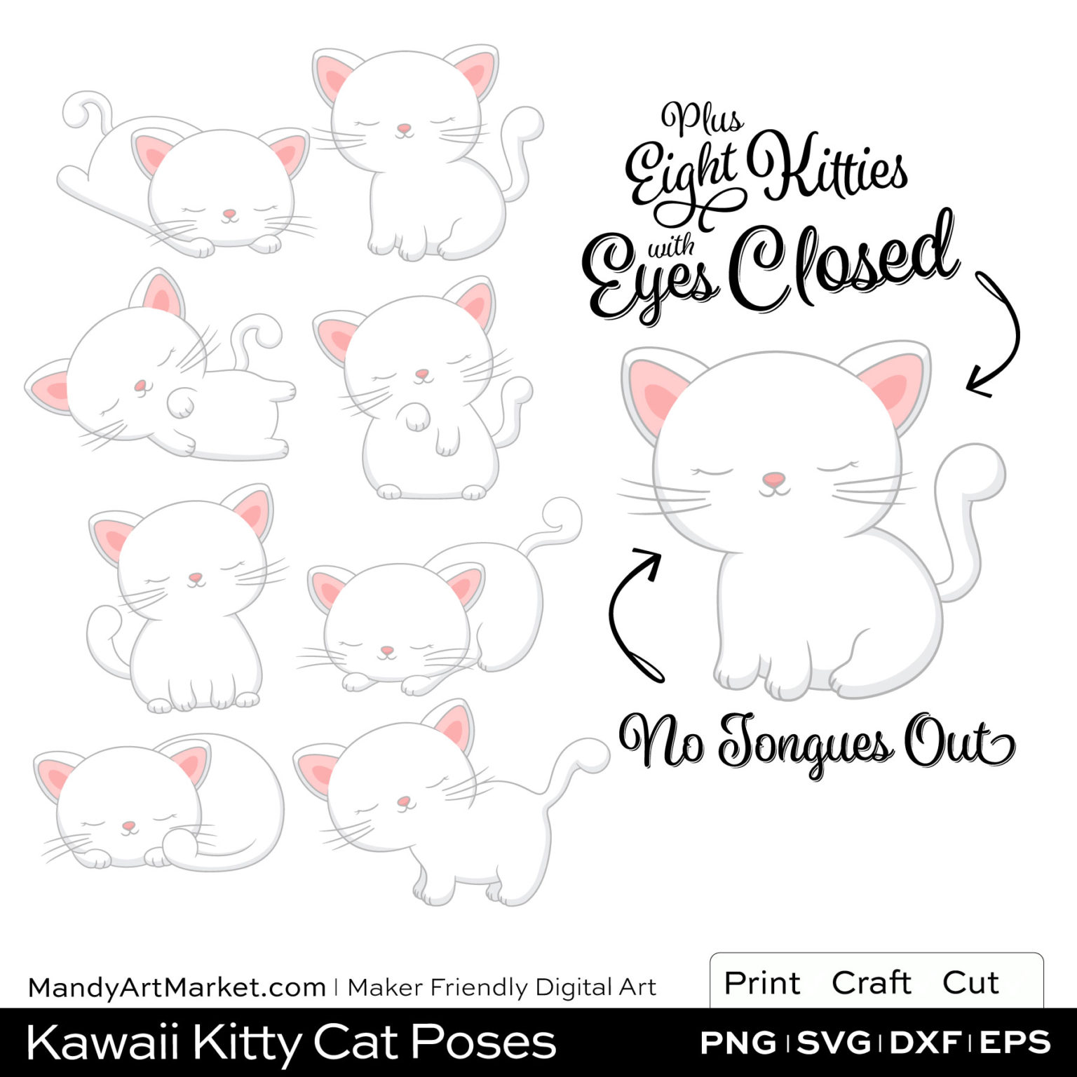 Snow White Kawaii Kitty Cat Poses Clipart PNGs Included in Download