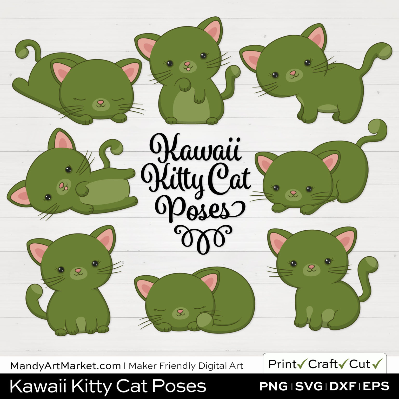 Turtle Green Kawaii Kitty Cat Poses Clipart on White Background
