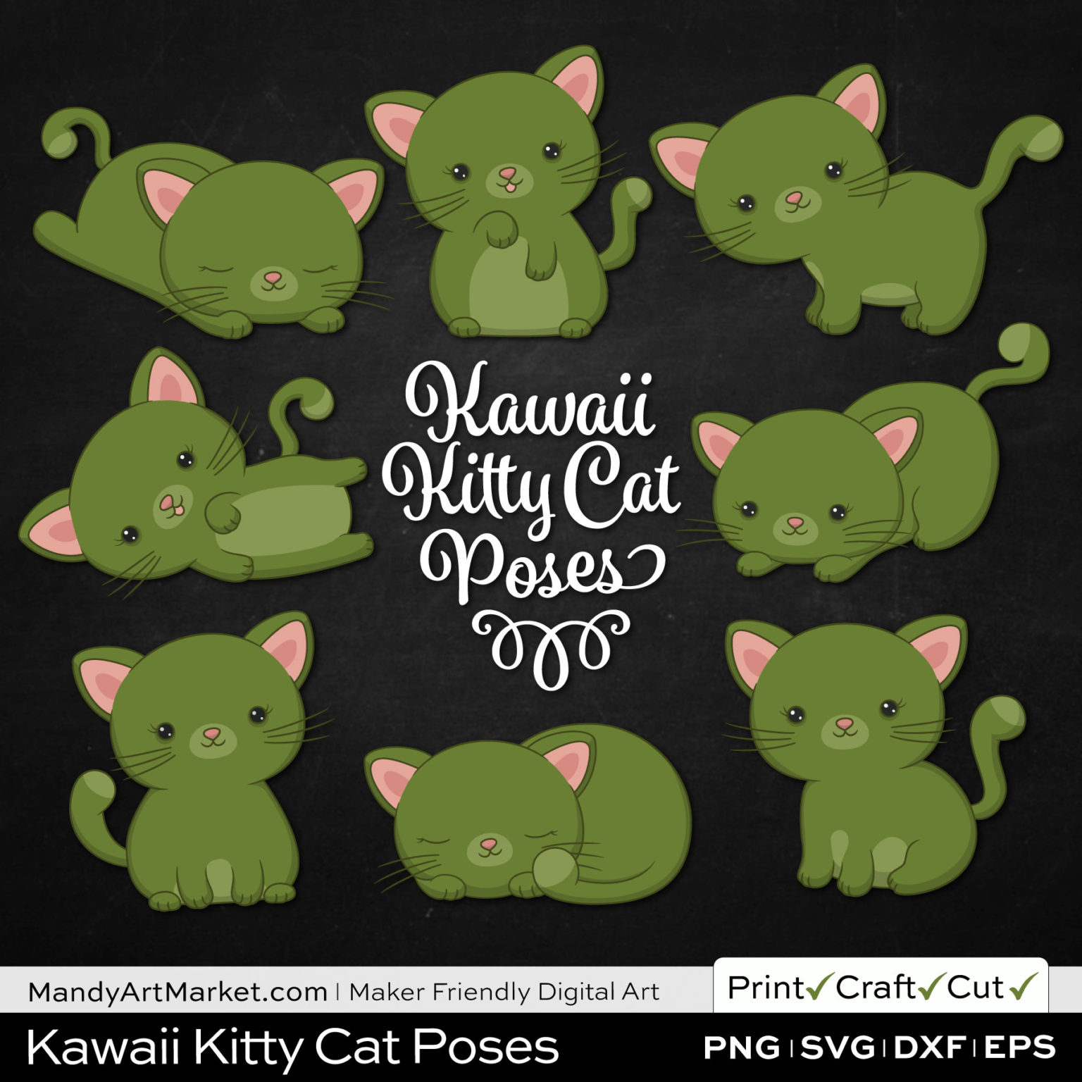 Turtle Green Kawaii Kitty Cat Poses Clipart on Black Background