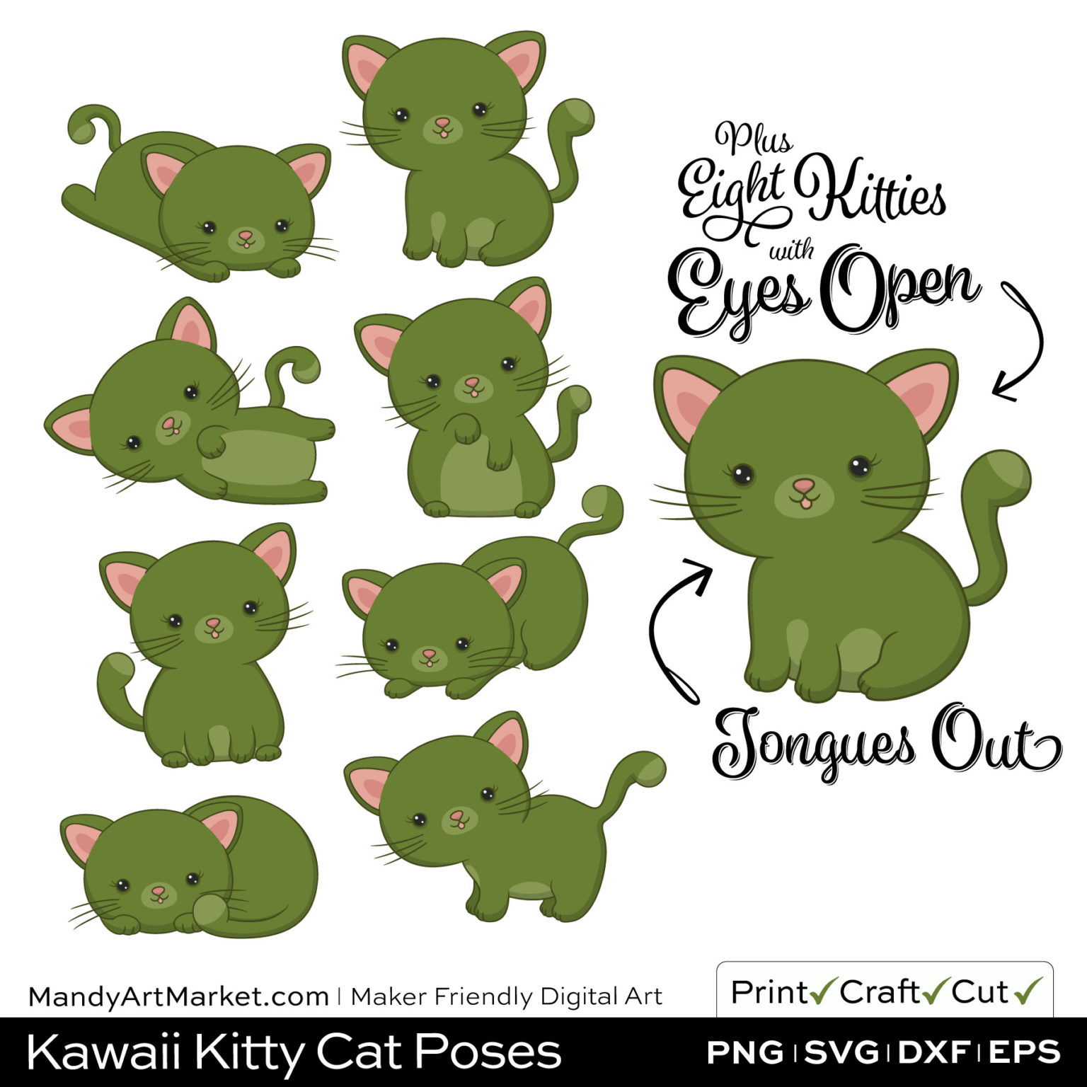 Turtle Green Kawaii Kitty Cat Poses Clipart Examples