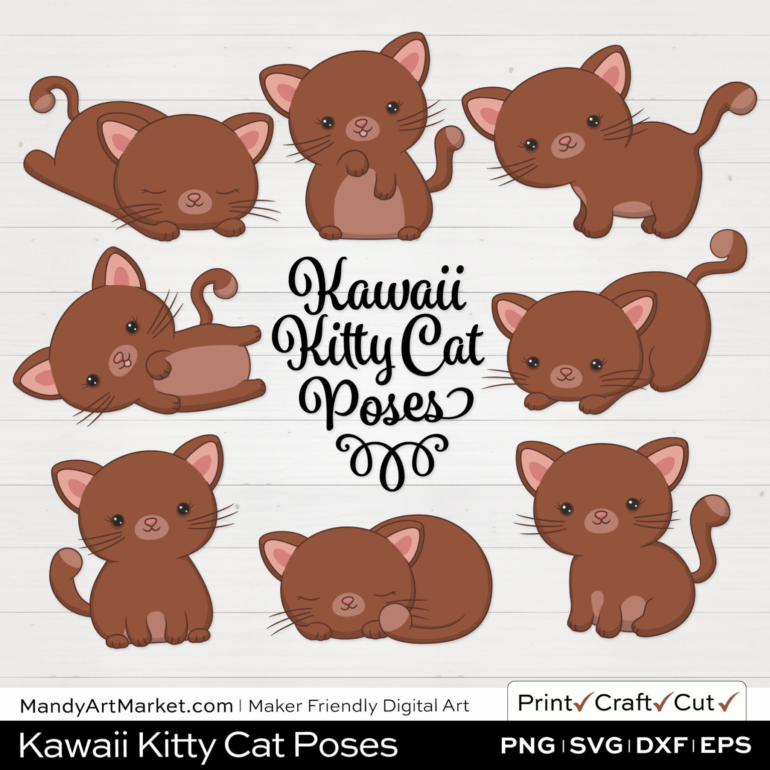 Umber Brown Kawaii Kitty Cat Poses Clipart on White Background