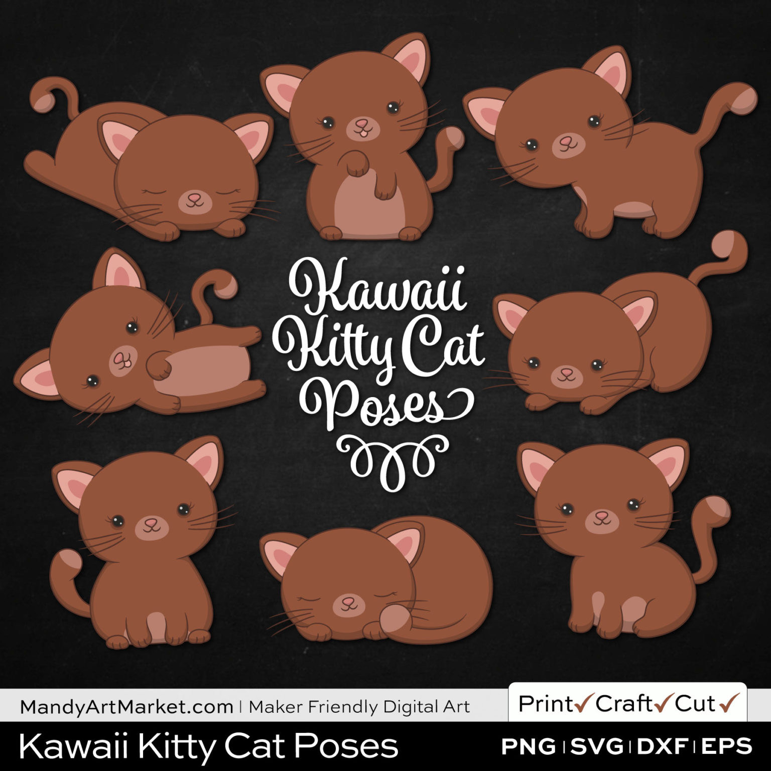 Umber Brown Kawaii Kitty Cat Poses Clipart on Black Background