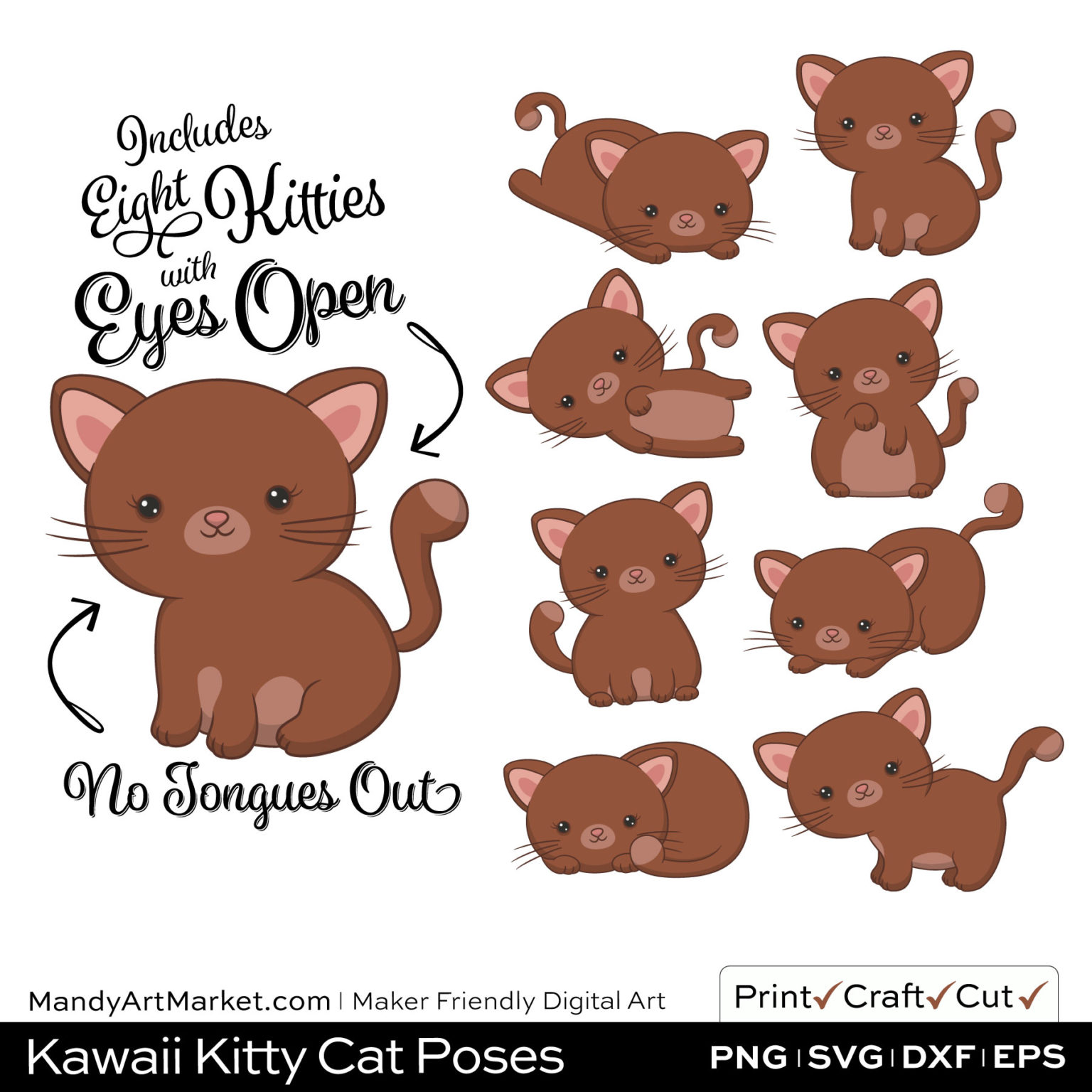 Umber Brown Kawaii Kitty Cat Poses Clipart on Wood Background