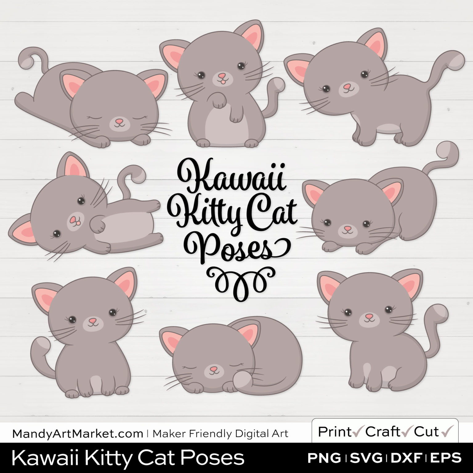 Warm Taupe Kawaii Kitty Cat Poses Clipart on White Background
