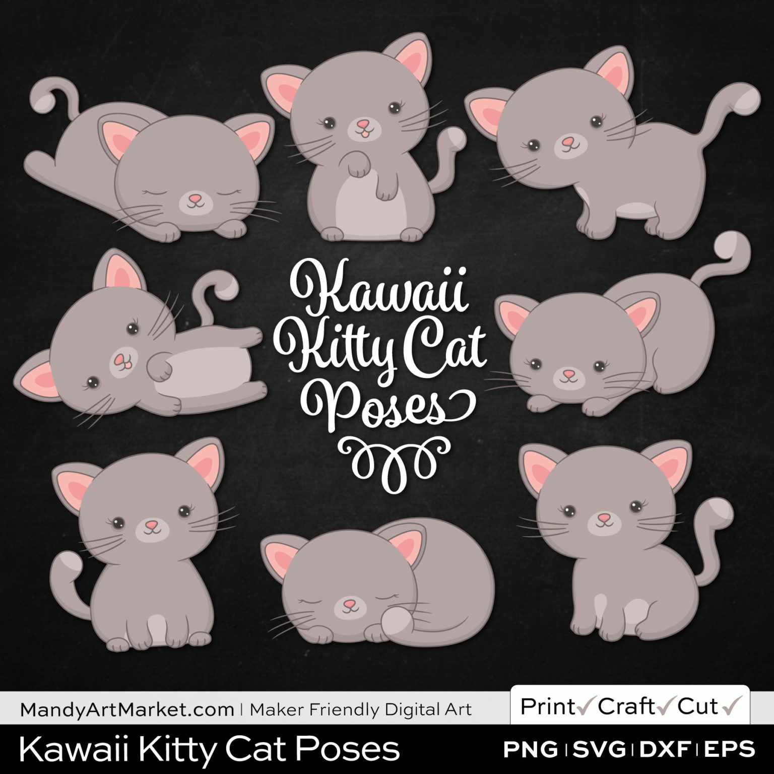 Warm Taupe Kawaii Kitty Cat Poses Clipart on Black Background