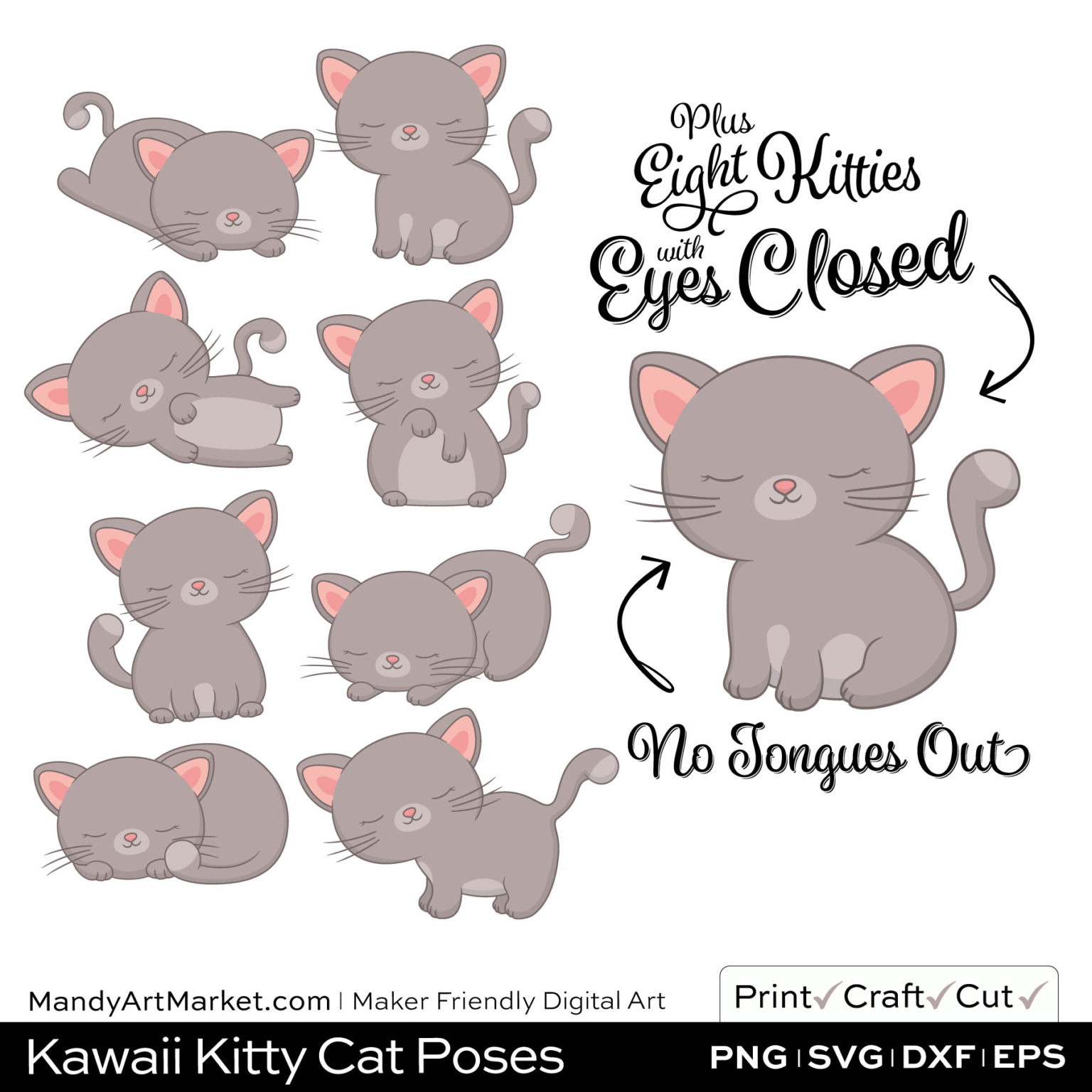 Warm Taupe Kawaii Kitty Cat Poses Clipart PNGs Included in Download