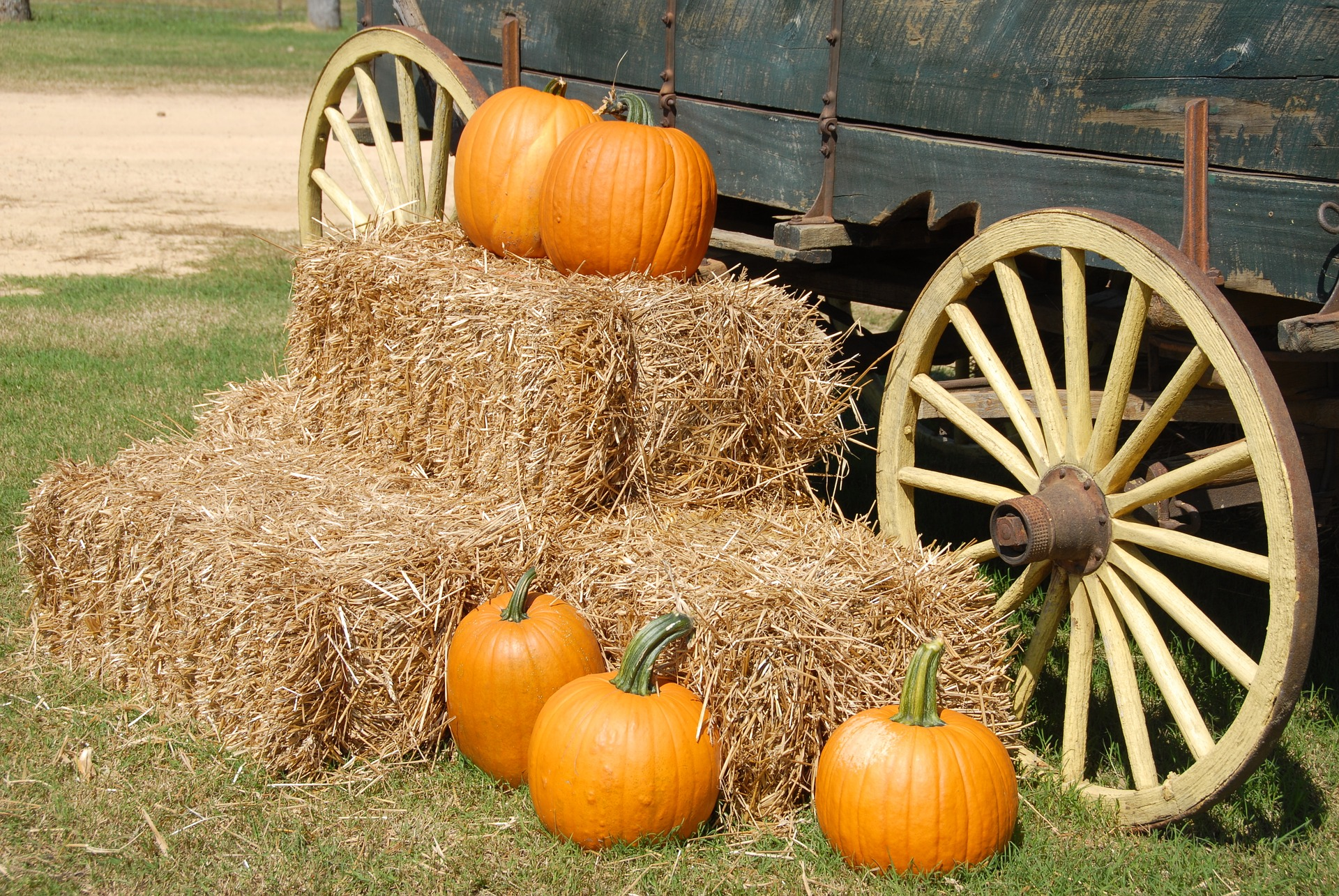 Photo of Pumpkins & Hay by a Wagon