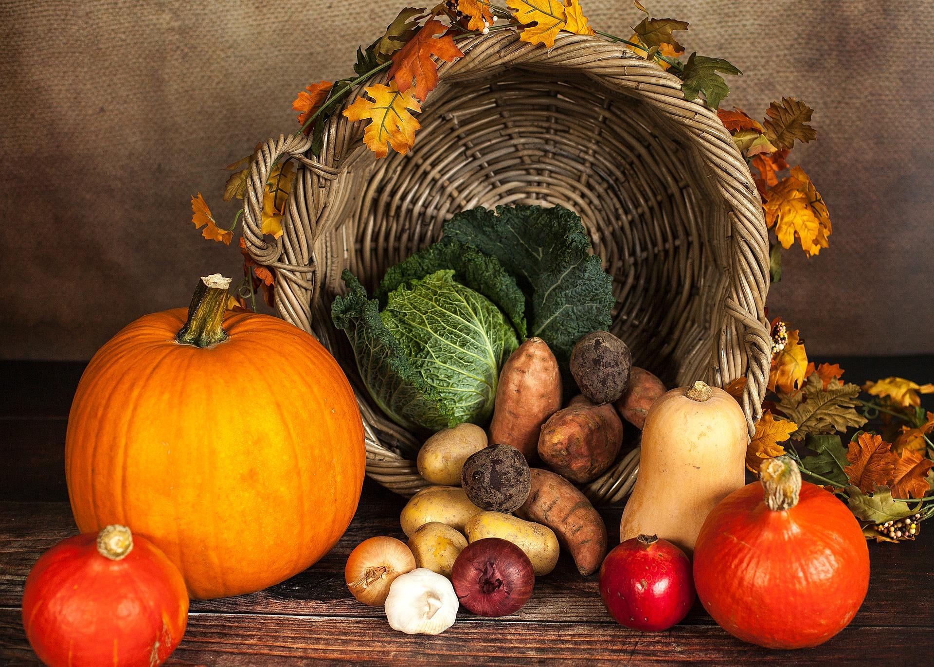 Photo of Harvest Vegetables in Tipped Basket