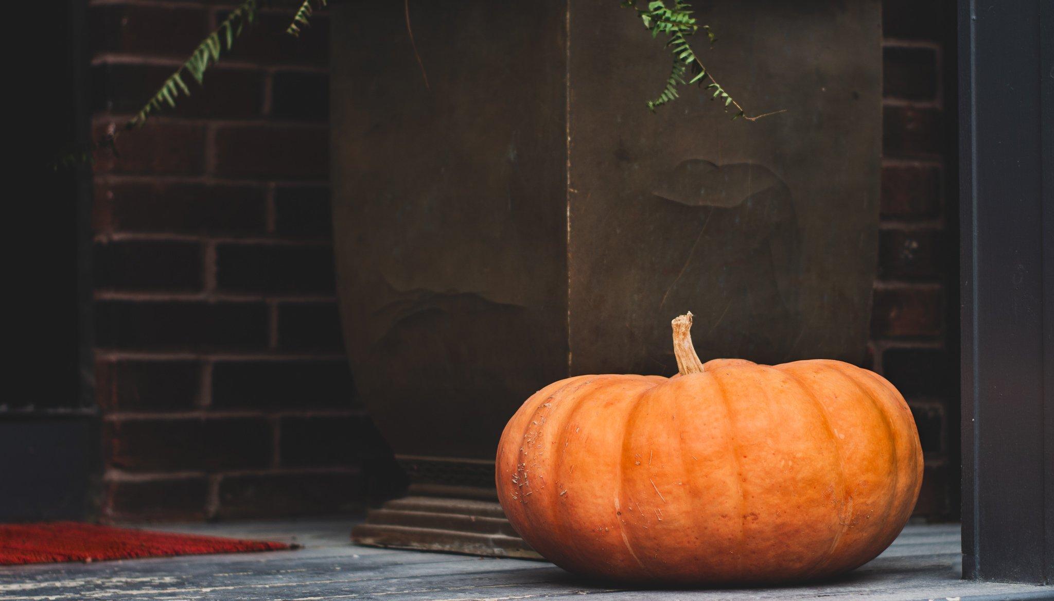 Photo of a Pumpkin on a Porch
