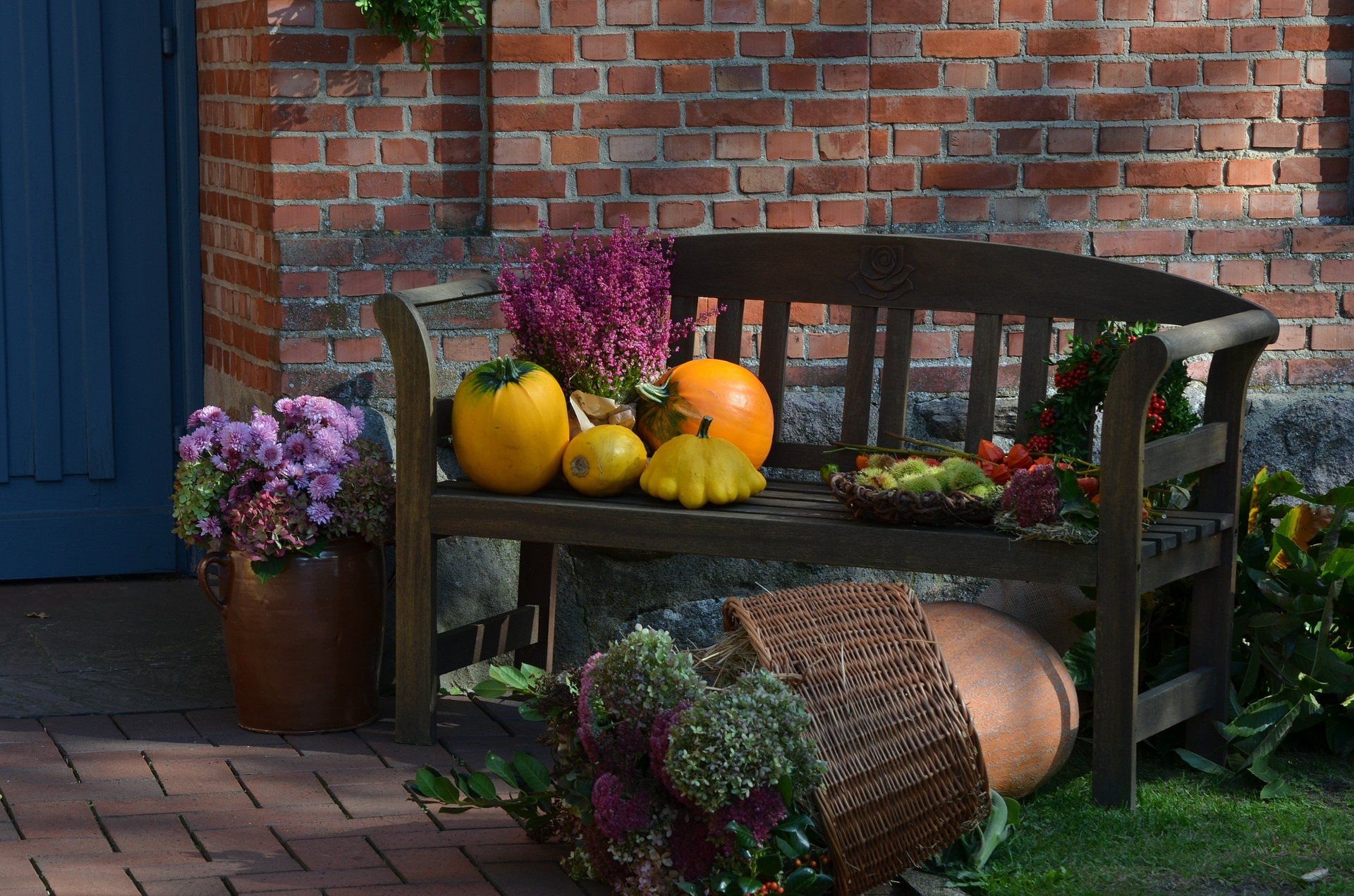 Photo of Pumpkins & Flowers on a Bench