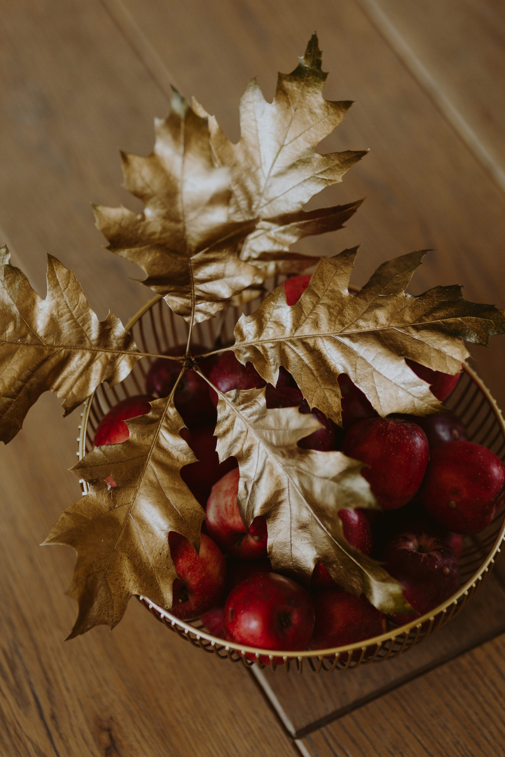 Photo of Red Apples With Golden Oak Leaves