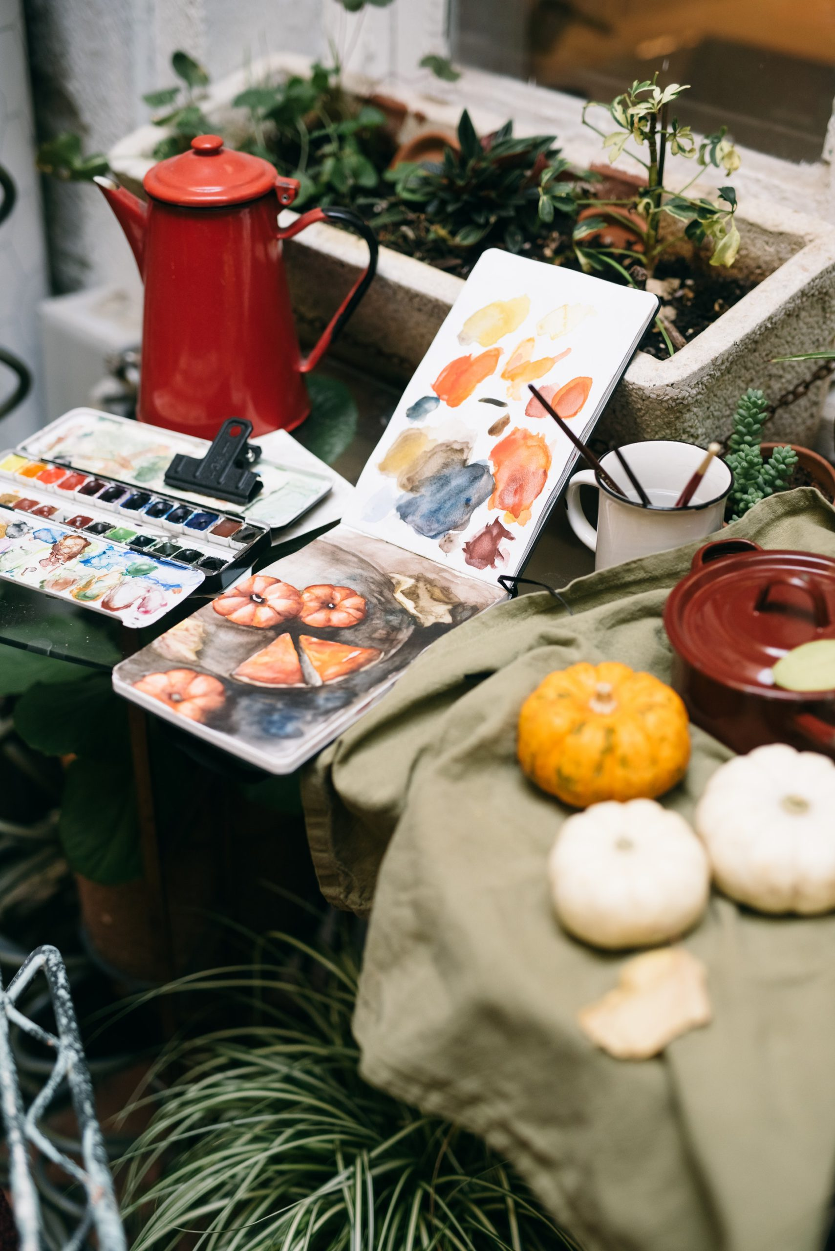 Photo of a Watercolor Pumpkin Painting